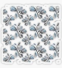 Dusty Blue Magnolia Pattern Transparent Sticker