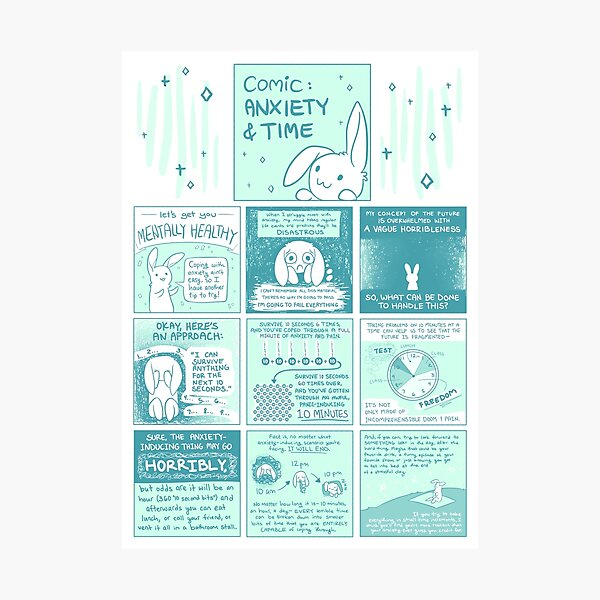 Let's Get You Mentally Healthy: Anxiety & Time Bunny Comic Photographic Print