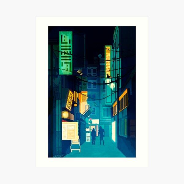 Noche de la ciudad de Japón Pixel Art Cyberpunk Lámina artística