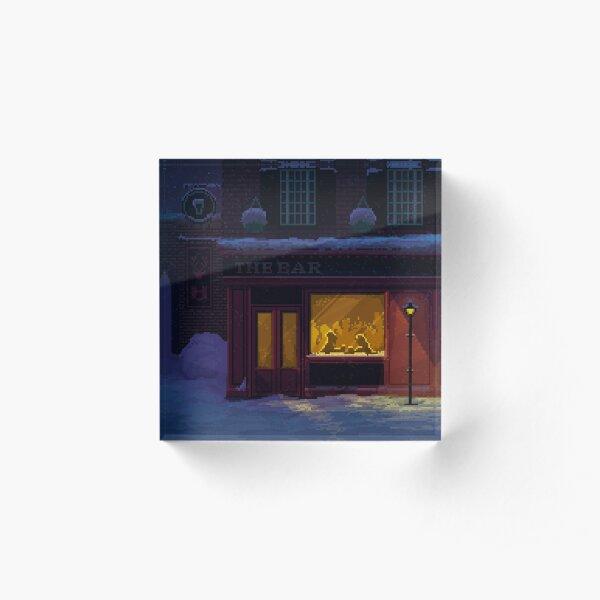 Winter Night Cozy Pub Pixel Art Acrylic Block