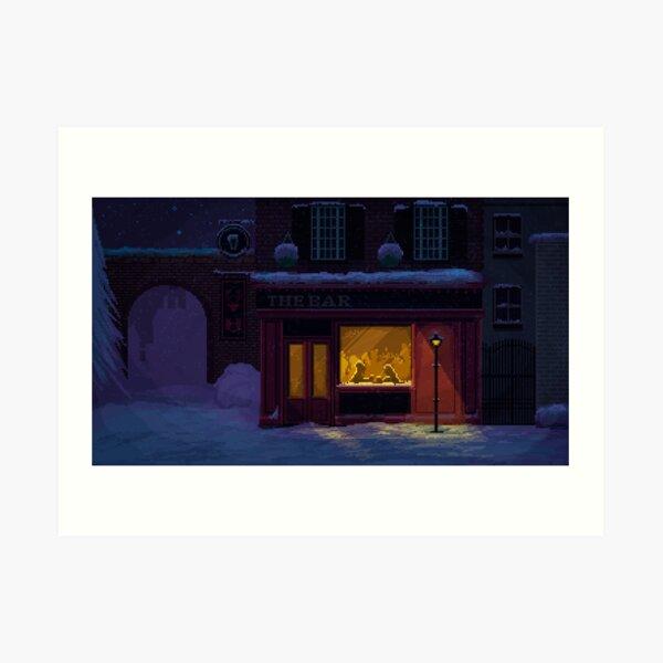 Noche de invierno acogedor pub Pixel Art Lámina artística
