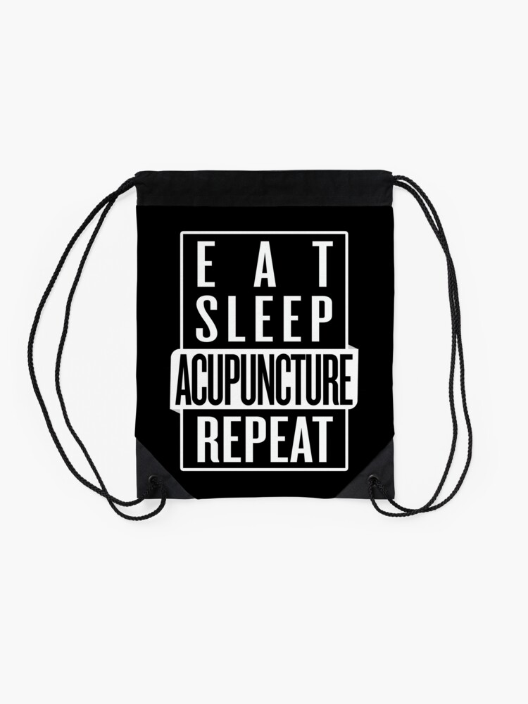 Alternate view of Eat Sleep Acupuncture Repeat Drawstring Bag