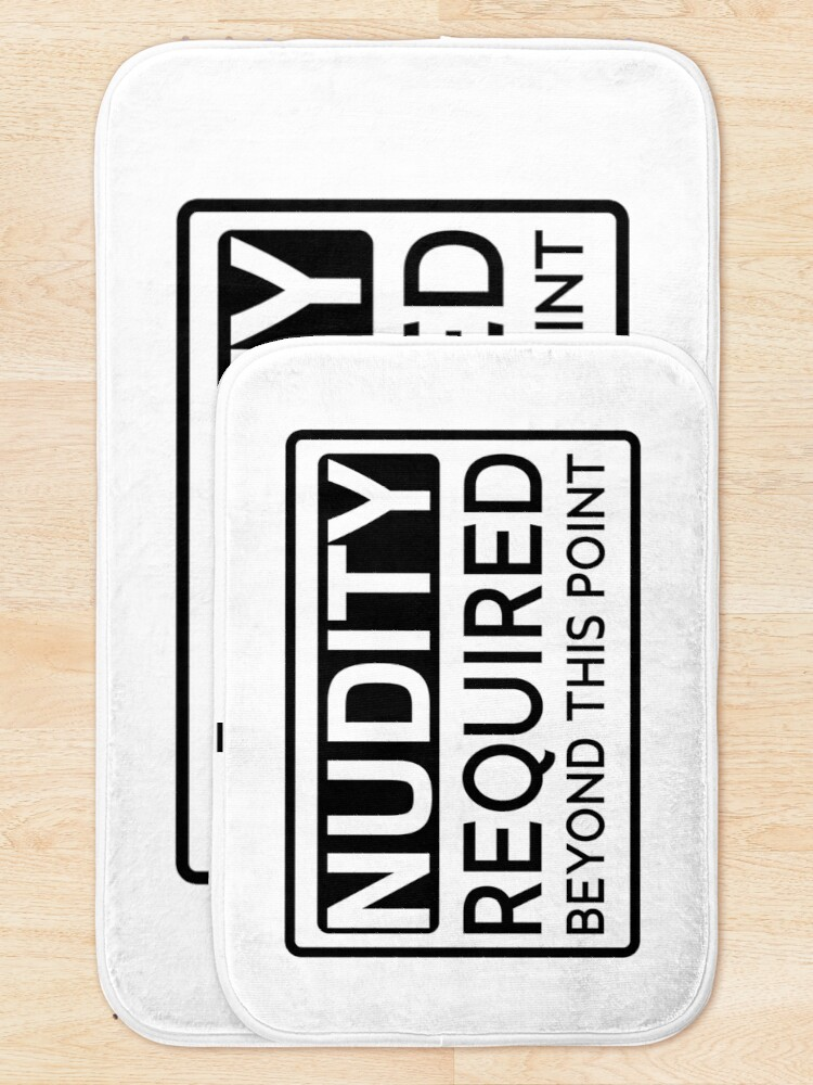 Alternate view of Nudity required beyond This point Funny Bath Mat