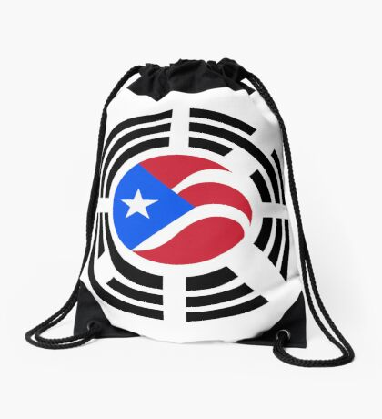 Puerto Rican Korean Multinational Patriot Flag Series Drawstring Bag