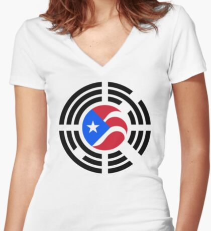 Puerto Rican Korean Multinational Patriot Flag Series Fitted V-Neck T-Shirt