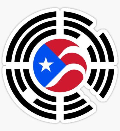 Puerto Rican Korean Multinational Patriot Flag Series Glossy Sticker
