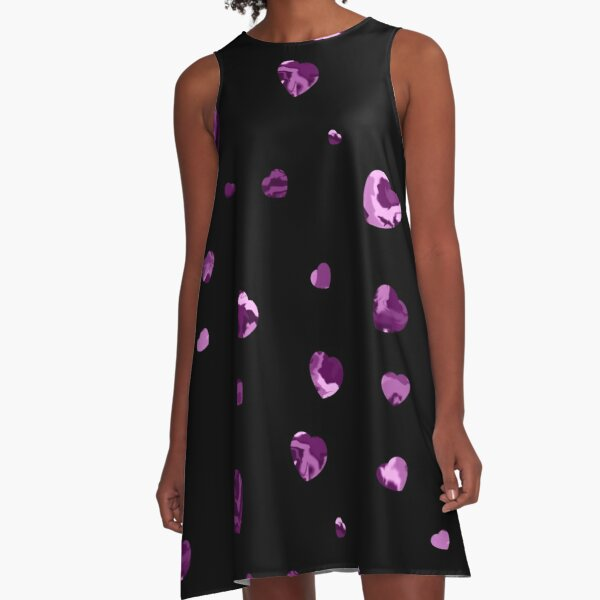 Chaotic Hearts, Dapple Series - Purple A-Line Dress