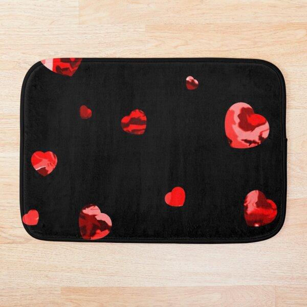 Chaotic Hearts, Dapple Series - Red Bath Mat