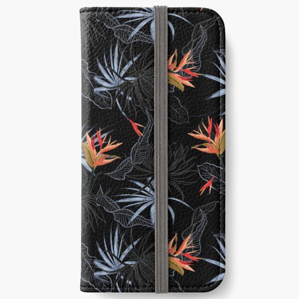 Tropical Bird of Paradise on Black iPhone Wallet