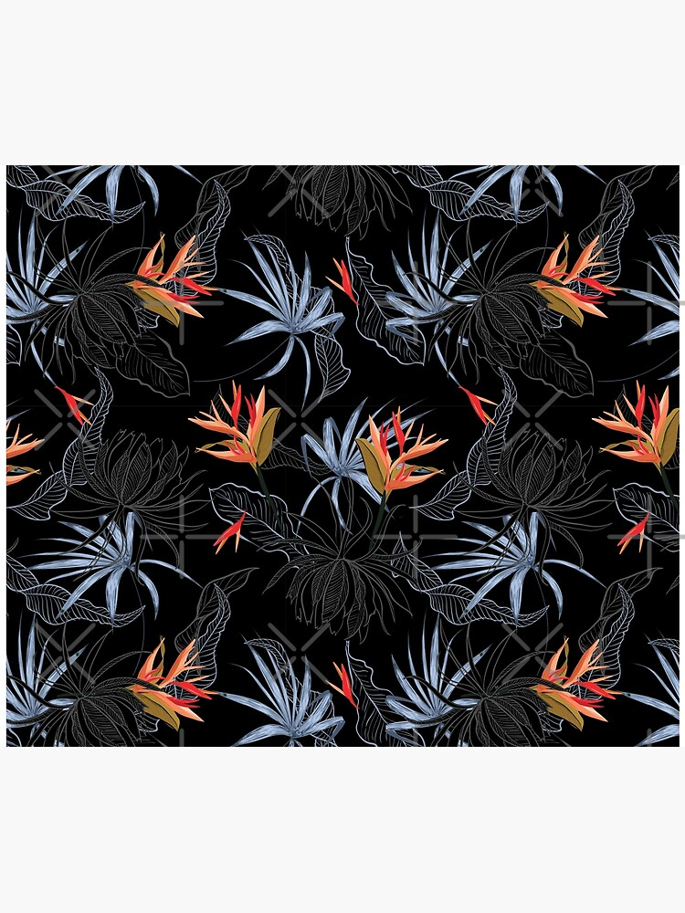 Tropical Bird of Paradise on Black by IconicTee