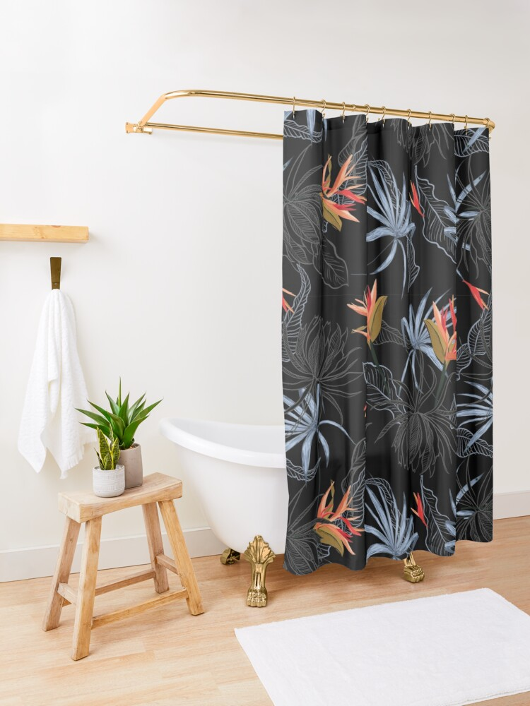 Alternate view of Tropical Bird of Paradise on Black Shower Curtain