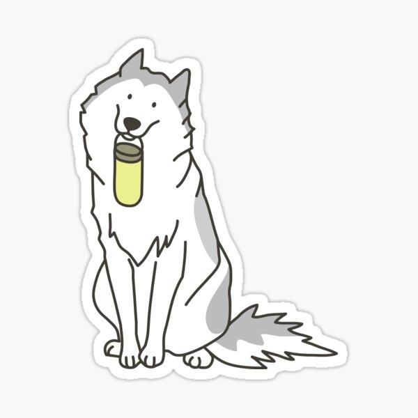 husky holding yellow water bottle Sticker