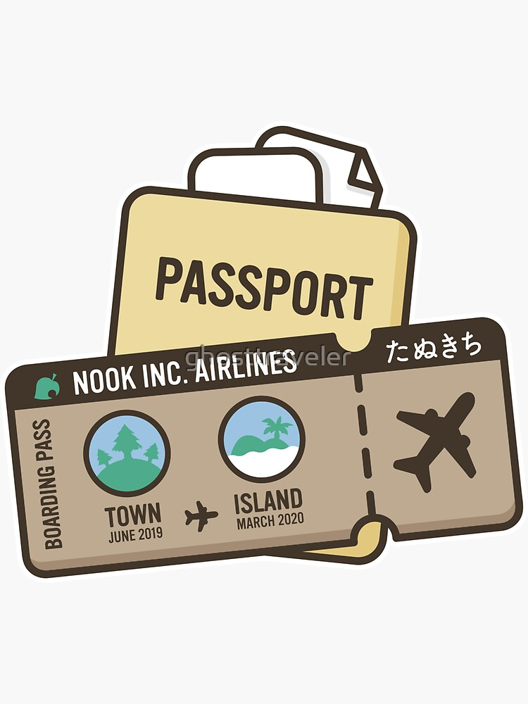 """Animal Crossing New Horizons Plane Ticket"" Sticker by ..."