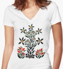 Slavic Flower 1 Fitted V-Neck T-Shirt