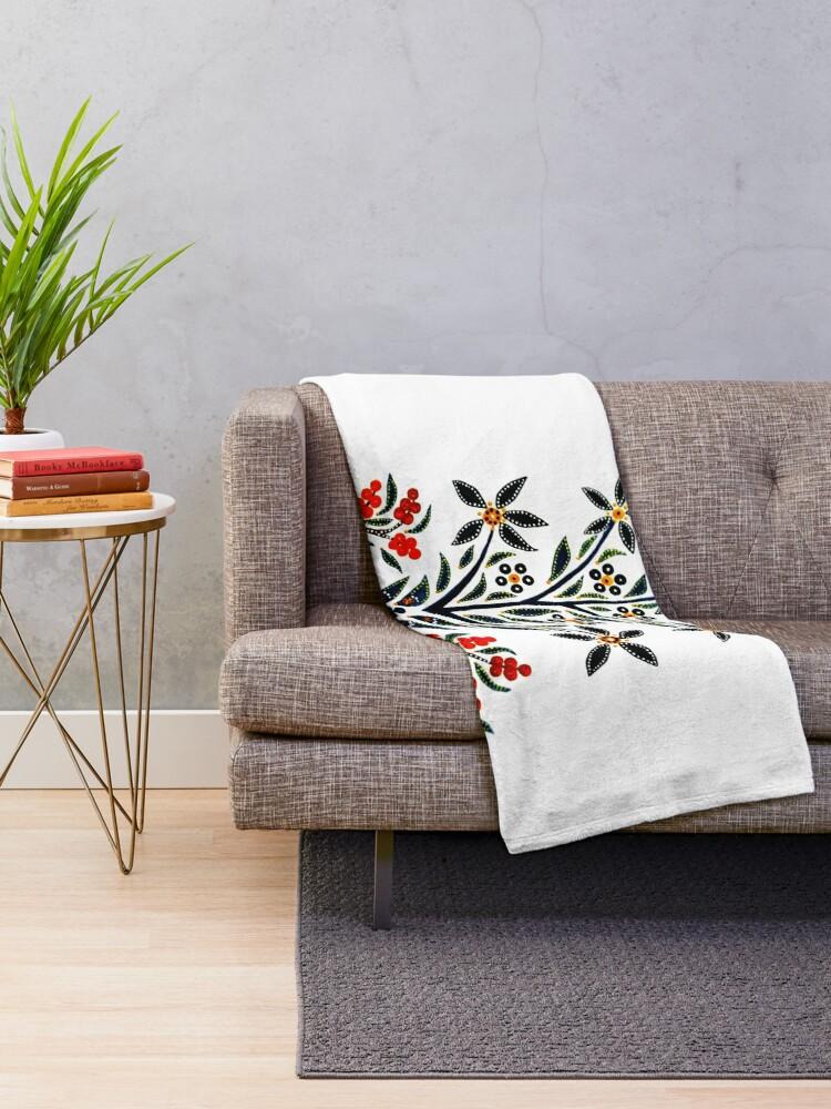 Alternate view of Slavic Flower 1 Throw Blanket
