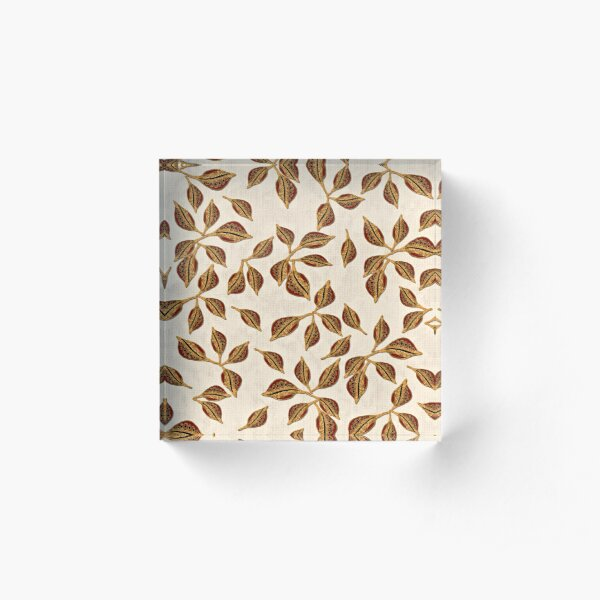 Golden Seed Pods Print Acrylic Block