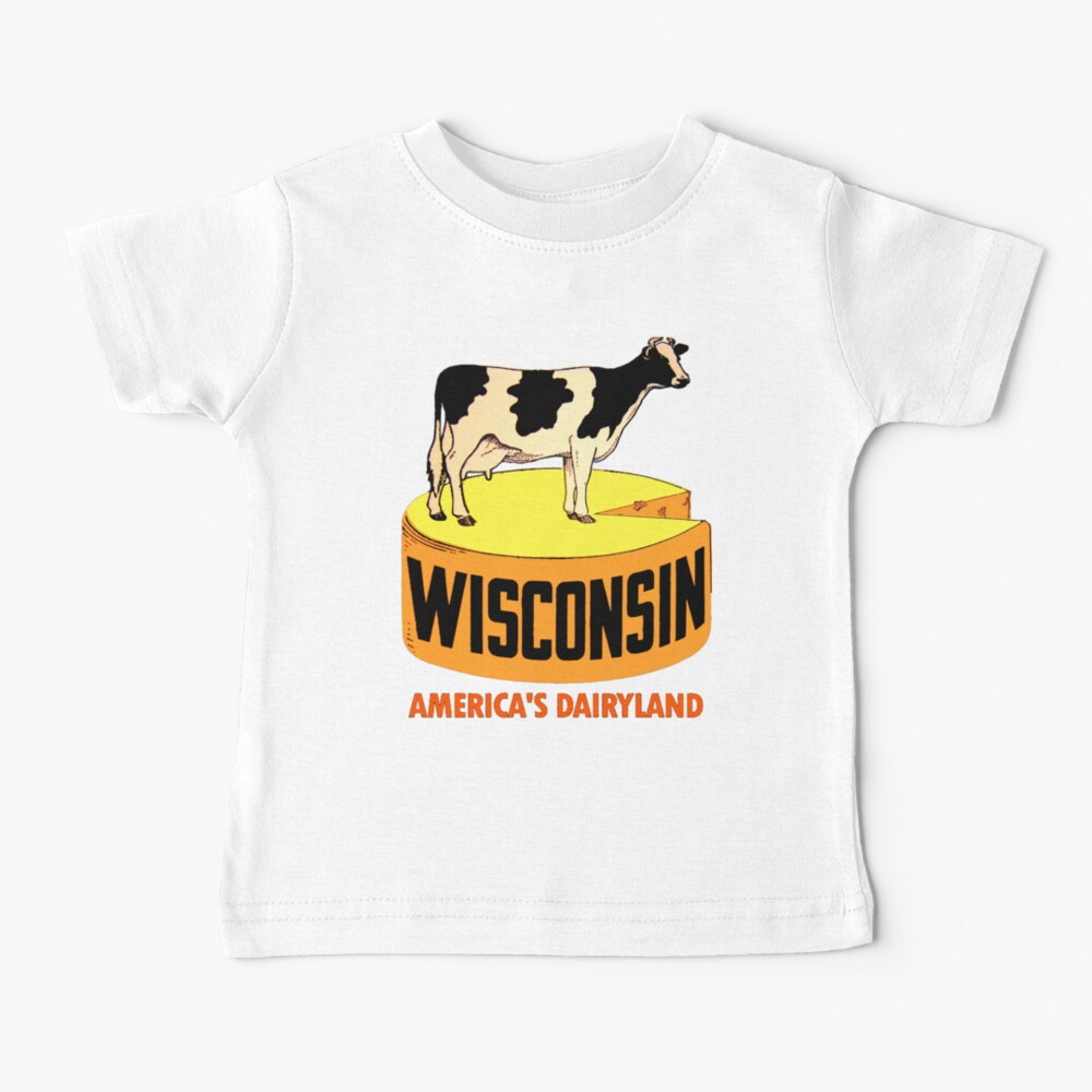 Wisconsin State Vintage Travel Decal Baby T-Shirt