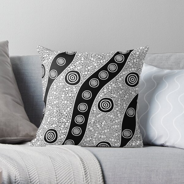 Authentic Aboriginal Art - Untitled Throw Pillow