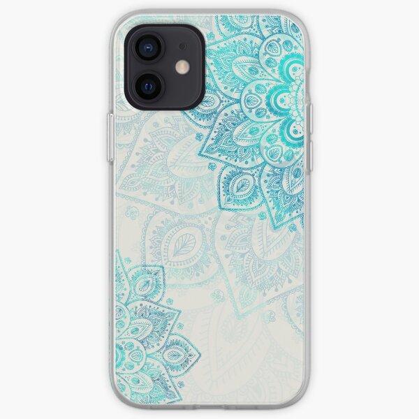 Turquoise Flowers Mandala iPhone Soft Case