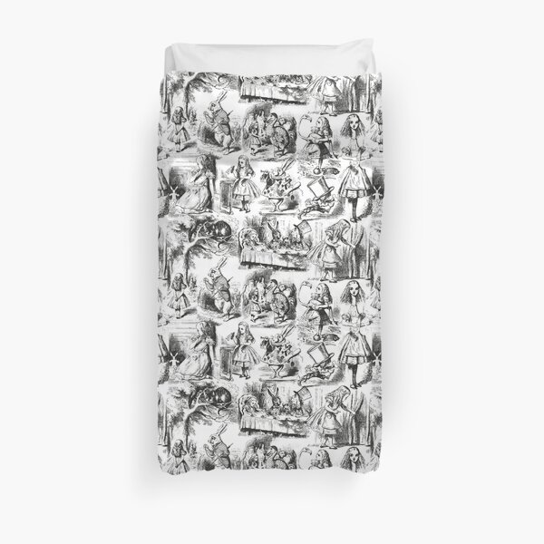 Alice in Wonderland | Toile de Jouy | Toile Pattern | Black and White | Vintage Alice | Duvet Cover