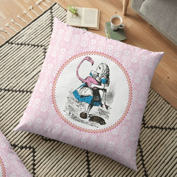 Alice in Wonderland   Alice Playing Croquet with a Flamingo and Hedgehogs   Vintage Alice   Floor Pillow