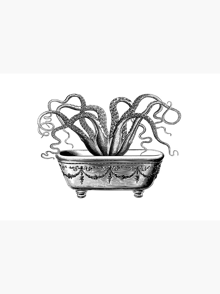 Tentacles in the Tub | Octopus in Bathtub | Vintage Octopus | Black and White |  by EclecticAtHeART