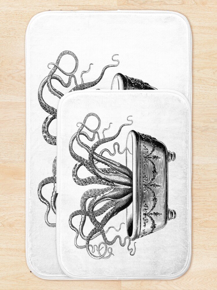 Alternate view of Tentacles in the Tub | Octopus in Bathtub | Vintage Octopus | Black and White |  Bath Mat