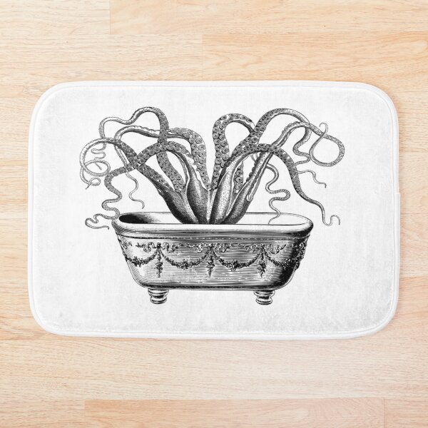 Tentacles in the Tub | Octopus in Bathtub | Vintage Octopus | Black and White |  Bath Mat