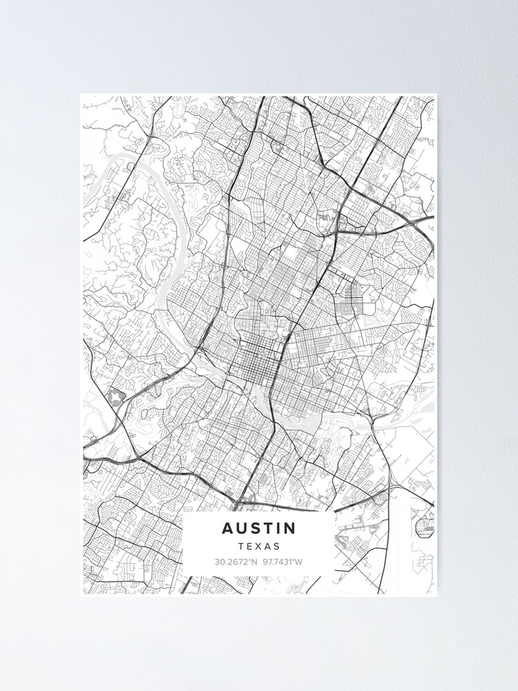 Alternate view of Austin TX  Map  Poster