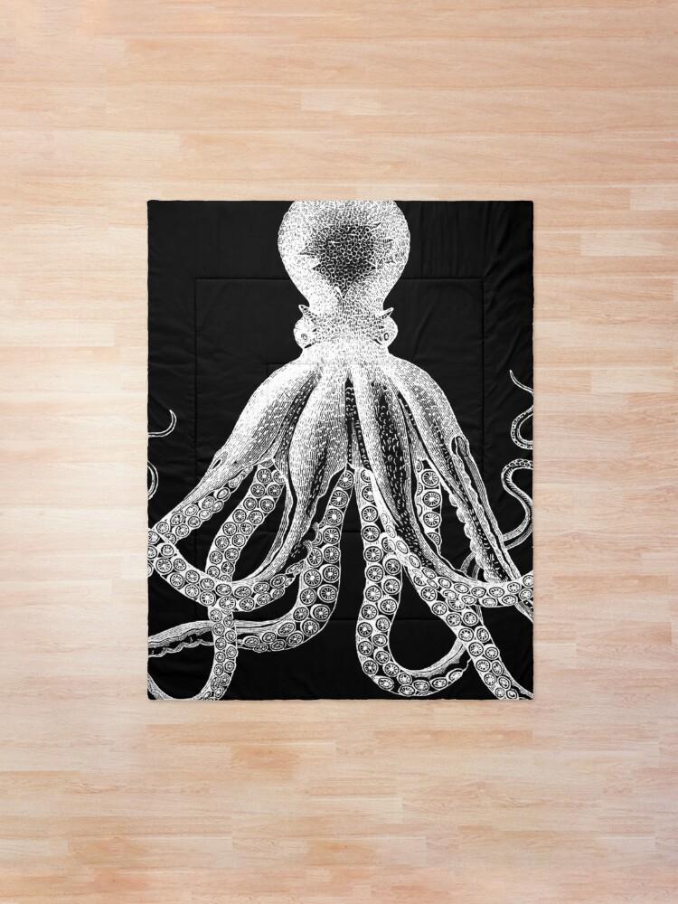 Alternate view of Octopus | Vintage Octopus | Tentacles | Sea Creatures | Nautical | Ocean | Sea | Beach | Black and White |  Comforter