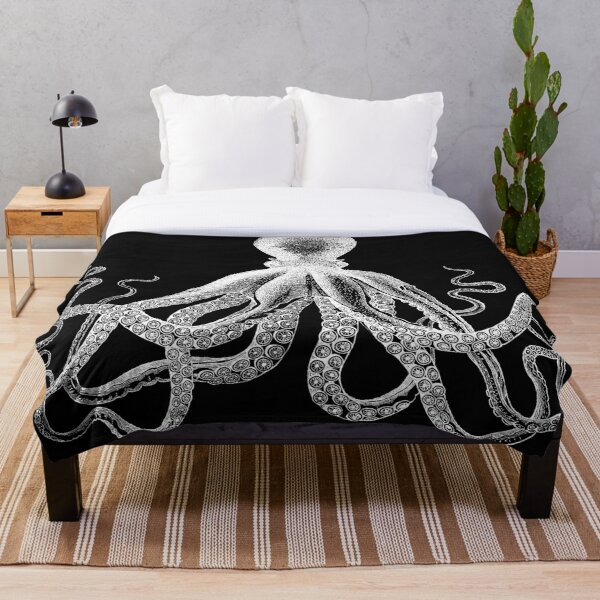 Octopus | Vintage Octopus | Tentacles | Sea Creatures | Nautical | Ocean | Sea | Beach | Black and White |  Throw Blanket