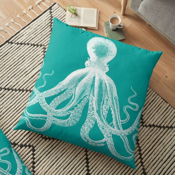 Octopus | Vintage Octopus | Tentacles | Sea Creatures | Nautical | Ocean | Sea | Beach | Teal and White |  Floor Pillow