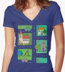 A Quiet Afternoon in Town Women's Fitted V-Neck T-Shirt
