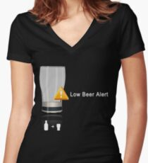 Low Beer Alert Women's Fitted V-Neck T-Shirt