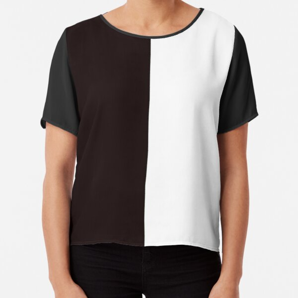 Half Black Half White Mini Skirt Chiffon Top