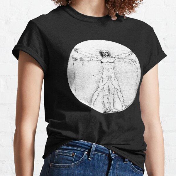 LEONARDO Da Vinci. The Vitruvian Man. Naked. CIRCLE. C.1485. Academia, Venice. On BLACK. Classic T-Shirt