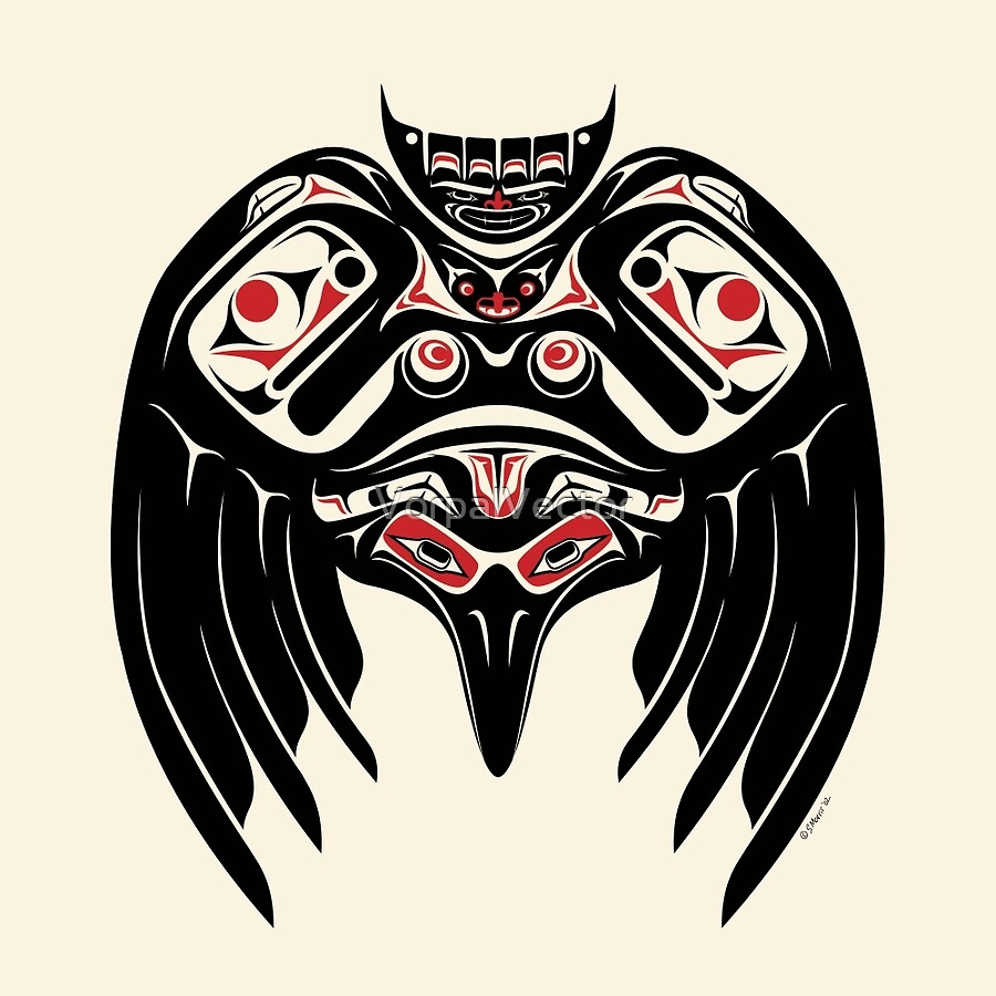 raven crow in a pacific north west style native american style