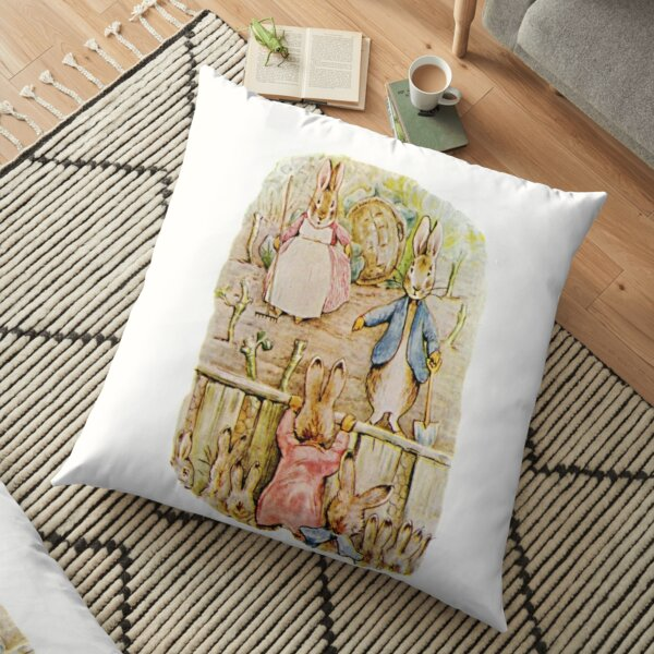 Peter Rabbit, Benjamin and Flopsy Bunny, Beatrix Potter. Floor Pillow
