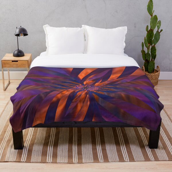 Abstract in Orange and Purple Throw Blanket