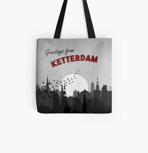 Saludos desde el arte de la postal del Seis de los Cuervos de Ketterdam Bolsa estampada de tela
