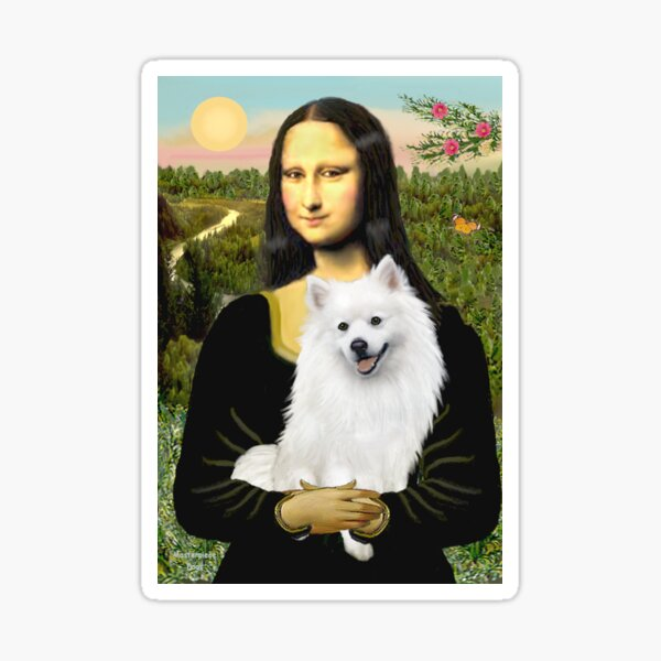 Mona Lisa and her American Eskimo Dog Sticker
