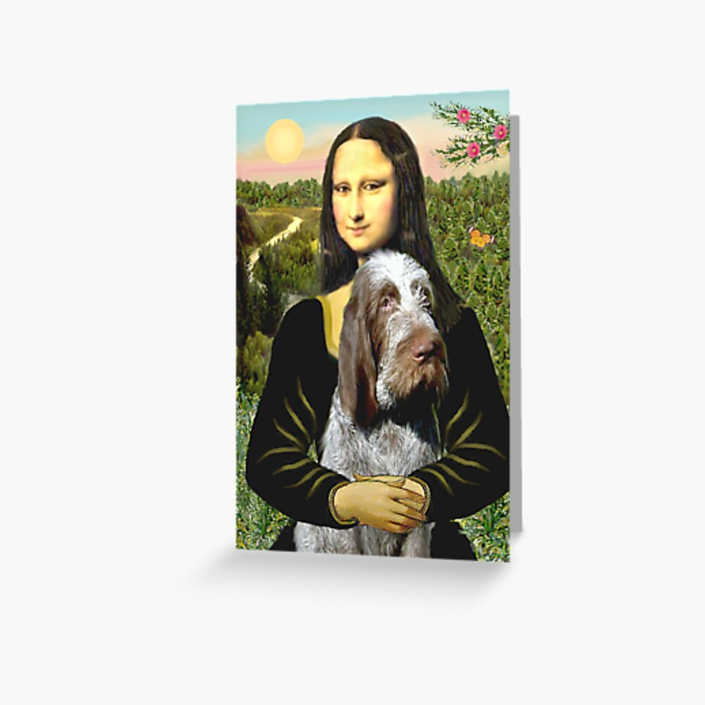 Mona Lisa and her Italian Spinone (roan colored) Greeting Card