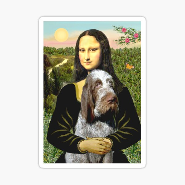 Mona Lisa and her Italian Spinone (roan colored) Sticker