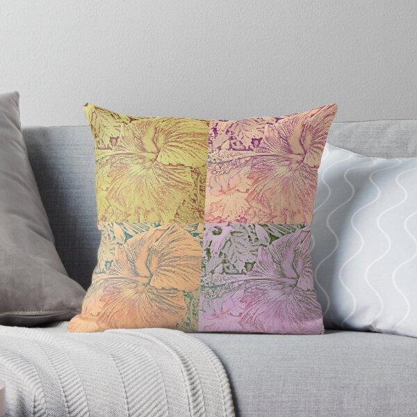 Hibiscus Vintage Quilt Pattern Throw Pillow