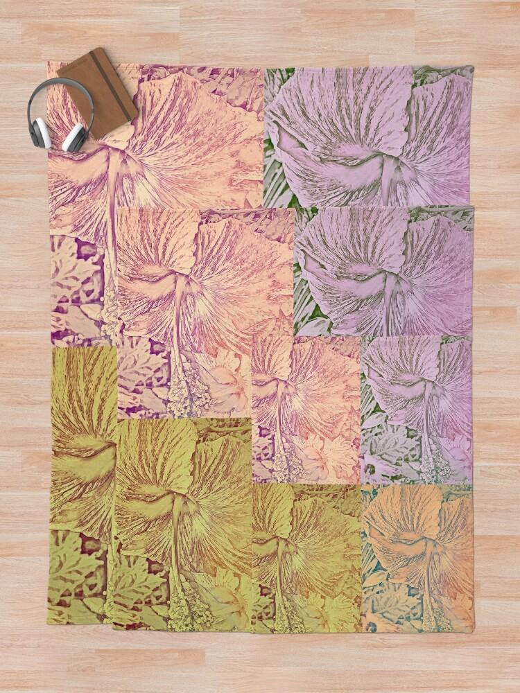 Alternate view of Hibiscus Vintage Quilt Pattern Throw Blanket