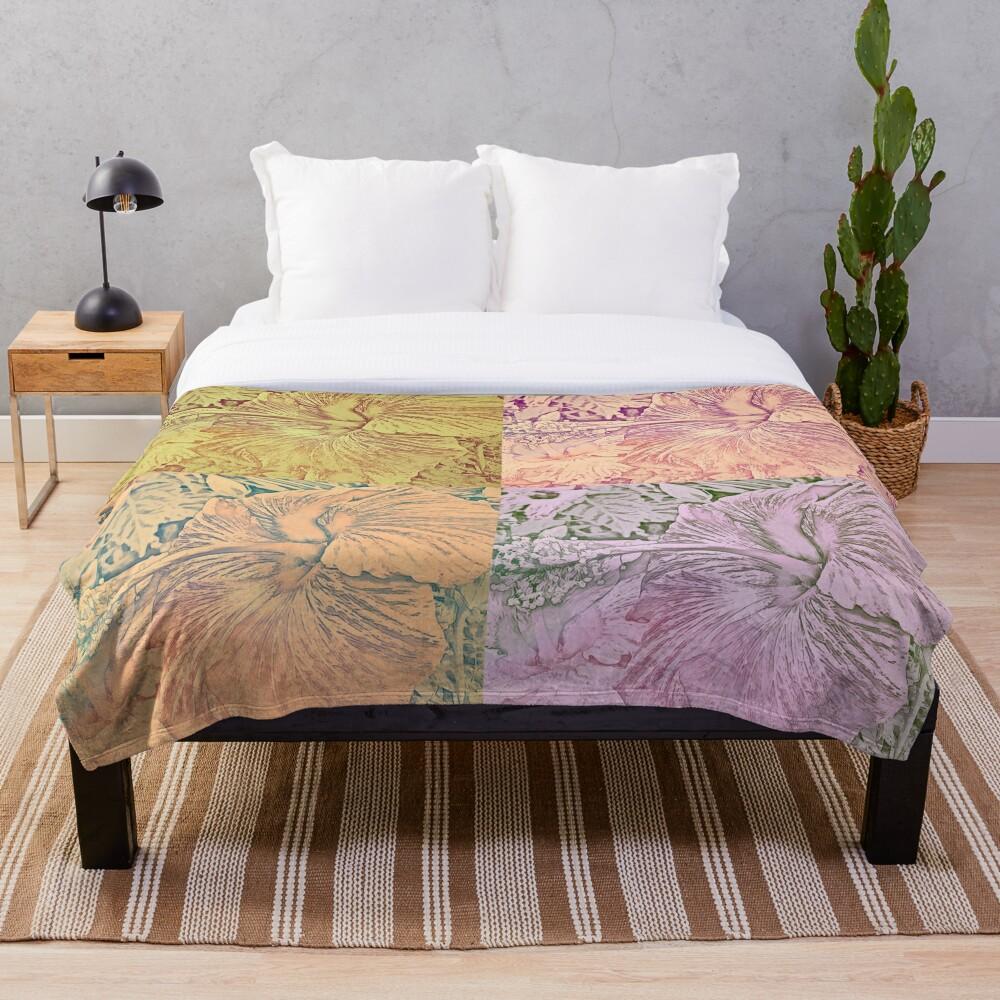 Hibiscus Vintage Quilt Pattern Throw Blanket