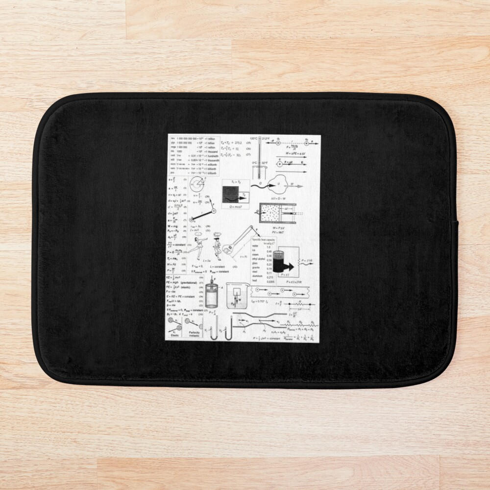 General Physics Formula Set, ur,bathmat_flatlay_small,square,1000x1000