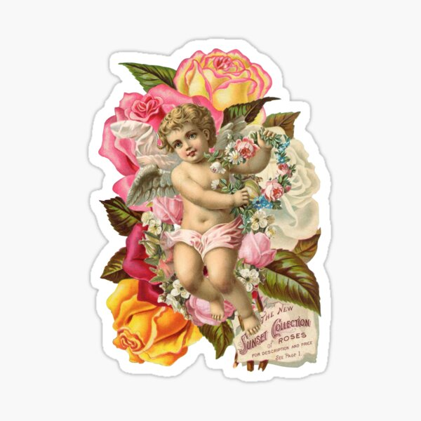 Victorian Cherub and Roses Chintzy Scrapbook Collage by Moose Disco Sticker