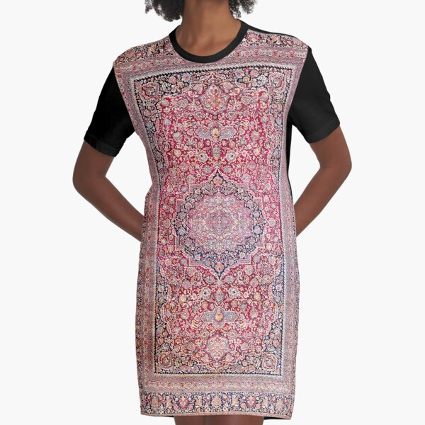 Tabriz West Central Persian Rug Print Graphic T-Shirt Dress