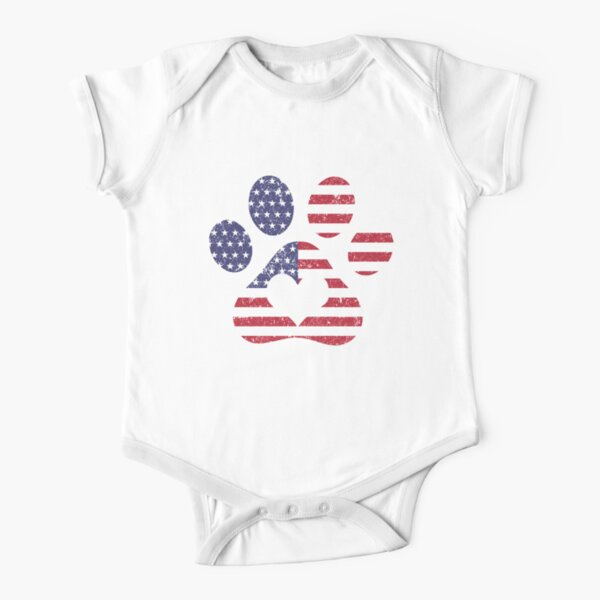 USA America Flag Paw Cotton Short Sleeve T Shirts for Baby Toddler Infant